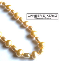 Champagne Rice Pearls Single Strand Necklace