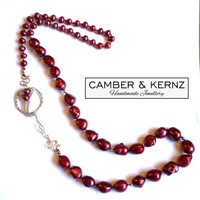 Red Baroque Pearls & .925 Sterling Silver Necklace