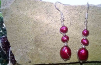 Long wrapped drop hoops with Cherry Red Pearls in 925 Sterling Silver