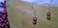 E00013 - Maroon Pearl drops on hoops, set in 925 Sterling Silver