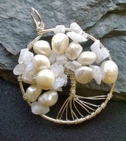 Tree of Life in White Cultured Pearls and Moonstone nuggets, all set in 925 Sterling Silver