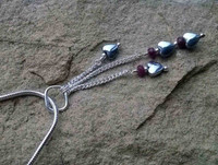 P00018 - Haematite Hearts and Ruby dangle chain pendant in 925 Sterling Silver on chain