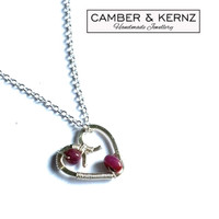 SOLD - Pink Sapphire Heart & Silver Plated /.925 Pendant