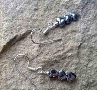 Haematite Heart Trio single drop 925 Sterling Silver earrings
