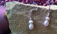 E00015 - Classic White rice Pearl dropped hoops set in 925 Sterling Silver