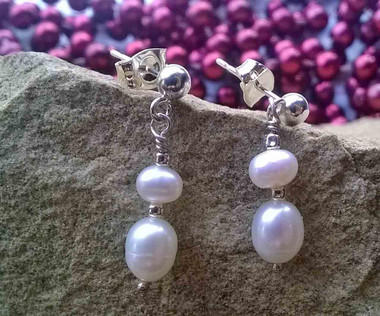E00016 - Classic White rice Pearl dropped studs set in 925 Sterling Silver