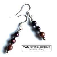 Maroon & Purple Pearl Trio .925 Sterling Silver Earrings