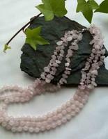 Three strand Rose Quartz nuggets and plain round necklace