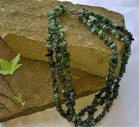 Three strand Emerald nugget necklace with 925 Sterling Silver