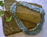 Woven Aquamarine nugget collar with 925 Sterling Silver fastening