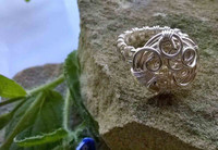 Spiral twist and weave shank Silver Plated wire ring. Size P
