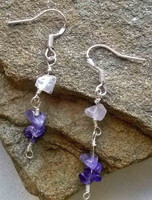 You'll fall in love with these feminine and graceful earrings. Purple Amethyst and Rose Quartz nuggets suspended within rosary linked .925 Sterling Silver wire. Beautiful for the Summer Sun!