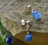 Kyanite nugget drops in 925 Sterling Silver on a stud base