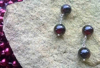 Gift - Cuff links made in 925 Sterling Silver with 8mm round Garnet beads