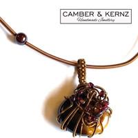 Brown Agate, Garnet & Bronze Wire Collar