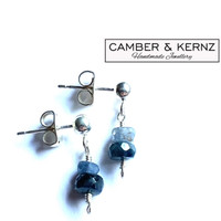 SOLD - Two Tone Sapphires .925 Sterling Silver Studs