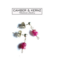 Two Tone Rubies .925 Sterling Silver Studs