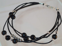 Gift - Black Onyx and Silver Plated multi-strand bracelet