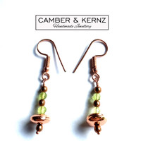 Copper & Green Faceted Peridots Earrings