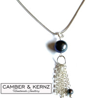 Peacock Pearl Dangle Necklace