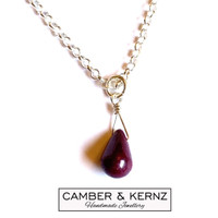 Ruby Pear Drop Necklace