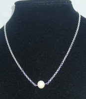 """Simple & elegant, singular white/cream cultured Pearl, integrated into an 16"""" .925 Sterling Silver belcher chain, stunning...keep this one for yourself!"""