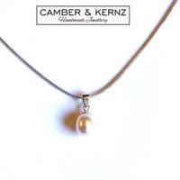 "Singular Drop Pearl .925 Bail 16"" Necklace"