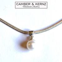 "Singular Round Pearl .925 Bail 18"" Necklace"