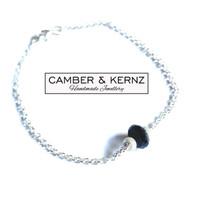 """Black Spinel .925 Sterling Silver Bracelet 7.5"""""""