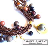 Jasper, Druzy, Carnelian & Goldstone Necklace