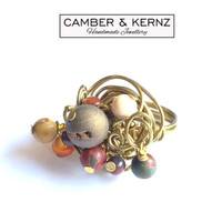 Multi-Gemstone Gold Coloured Wire Ring (Size M/6)