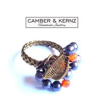 Purple Pearl & Carnelian Cluster Ring (Size S/9)