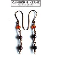 Purple Pearls & Carnelian Bronze Wire Earrings
