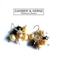 Multi Pearl Cluster Silver Plated Earrings