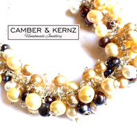 Multi Pearl Scatter Cluster Necklace