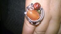 Gift - Carnelian, Jasper, Goldstone Silver Plated Cluster Ring