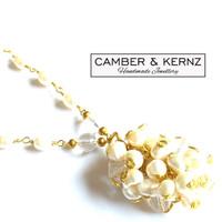 White Pearl & Quartz Scatter Necklace