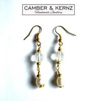 Pearl & Clear Quartz Golden Earrings