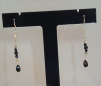 With these .925 Sterling Silver Black Spinel drop earrings you can dress for work or play! Simple but elegant approx. 3cm long so either dress up that suit, or that off the shoulder number, let the light catch the micro facets and sparkle