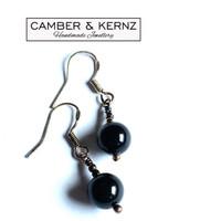 Black Onyx & .925 Sterling Silver Earrings