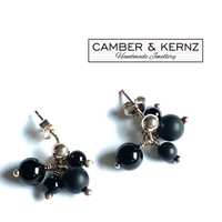 Black Onyx Cluster .925 Sterling Silver Studs