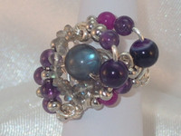 Contemporary Amethyst, Labradorite and Agate size L silver plated ring. What a show stopper, its vibrant, young and demands to be worn. Break the ice with this talking point thats sure to cause a stir
