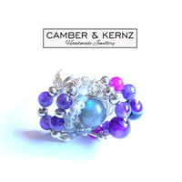 Amethyst, Labradorite and Agate Silver Plated Ring (Size M/6)