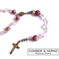 Mookite & Rose Quartz St Benedict Rosary Necklace