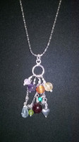 "SOLD - 925 Sterling Silver 'Chakra' multi gemstone pendant and 20"" chain"