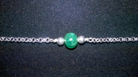 SOLD - Amazing round Emerald and 925 Sterling Silver chain bracelet