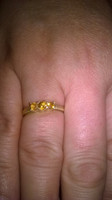 SOLD - Check out those stunning golden tones from these three magical Citrines set in this 9ct solid gold trio ring mount