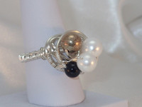 This stunning monochrome Silver Plated ring, gives such a contemporary but classical feel with the White Shell Pearls, Black Onyx and the warmth of the 'mottled/tarnished 925 Sterling Silver bead', something different and special