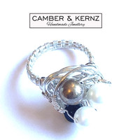 White Shell Pearls, Onyx & Mottled .925, Silver Plated Ring (Size Q/8)
