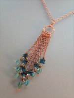 Funky Apatite & copper long necklace.  Full of fun and superb shades of Blue Apatite, contrasting against the brightness of copper chain for that real 'now' feeling, treat yourself
